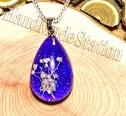 "Dried flowers specimens PURPLE pendant with 18"" 925 sterling silver necklace"