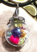 "Glass Ball colorful dried flowers Pendant with 18"" leather necklace"