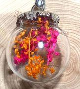 """Glass Ball dried flower Pendant with 18"""" brown leather necklace"""