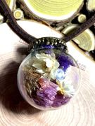 Handmade Crystal glass Ball dried flowers eternal flower Leather Necklaces