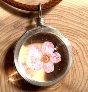 "Handmade wish Crystal glass Ball pink blossom dried flower with 18"" Leather Necklaces"