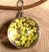 """Handmade wish Crystal glass Ball yellow dried Flower with 18"""" Leather Necklaces"""