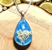 "Dried flowers specimens Sky BLUE pendant with 20"" 925 sterling silver necklace"