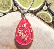 "Dried flowers specimens PINK pendant with 18"" 925 sterling silver necklace"