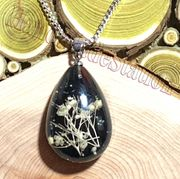 "Dried flowers specimens BLACK pendant with 16"" 925 sterling silver necklace"