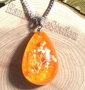 """Dried flowers specimens ORANGE pendant with 22"""" 925 sterling silver necklace"""