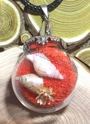 "Glass Ball red send with dried flower & small seashell Pendant with 18"" leather necklace"