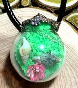"Glass Ball green send with dried flower & small seashell Pendant with 18"" leather necklace"