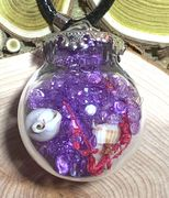 "Glass Ball Purple send with dried flower & small seashell Pendant with 18"" leather necklace"