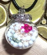 "Glass Ball white snow with dried flowers Pendant with 18"" leather necklace"