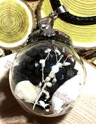 "Glass Ball black send with dried flower & small seashell Pendant with 18"" leather necklace"