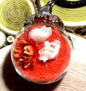 "Glass Ball orange send with dried flower & small seashell Pendant with 18"" leather necklace"