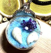 "Glass Ball blue send dried flower small seashell Pendant with 18"" brown leather necklace"