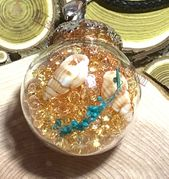 "Glass Ball gold send dried flower small seashell rocks sends Pendant with 18"" brown leather necklace"