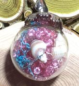 "Glass Ball pink send dried flower small seashell rocks sends Pendant with 18"" brown leather necklace"
