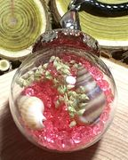 """Glass Ball pink send dried flower small seashell rocks sends Pendant with 18"""" brown leather necklace"""