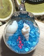 """Glass Ball blue send dried flower small seashell rocks sends Pendant with 18"""" brown leather necklace"""