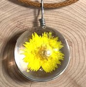 "Handmade wish Crystal glass Ball yellow chrysanthemum dried Flower with 18"" Leather Necklaces"