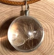 "Handmade wish Crystal glass Ball dried Dandelion Flower with 18"" Leather Necklaces"