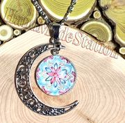 Mandala pink blue flower gemstone half moon pendant