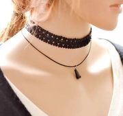 Tattoo Black Lace Choker Necklace Tassel Adjustable Pendants Necklaces