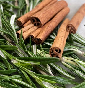 CINNAMON ROSEMARY - If you enjoy a hint of cinnamon with your herbal bouquet, this is the scent for you. We combine Cinnamon Leaf and Rosemary Essential oils with our signature Fir Needle Essential Oil base to create a one of a kind aroma combination. Getting rave reviews so far.