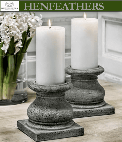 "4 Large Tuscan Pillar Candleholders 5.25"" Set of 4"