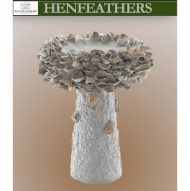 Hampton Oyster Shell Medium Faux Bois Birdbath