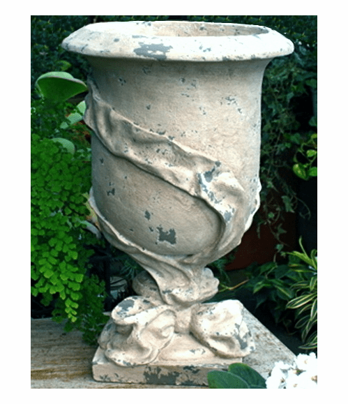 "HenFeathers Ribbon Urn in vintage blanc with w/special  ""Noir""darker background {USA}"
