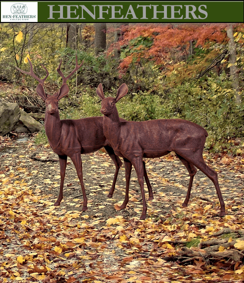 Majestic Buck and Doe Sculpture Duo {USA}n
