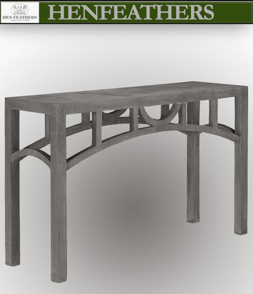 Moongate Faux Bois Console Table