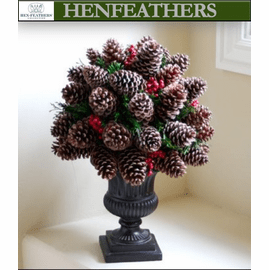 Pine Cone & Berry Holiday Globe in Classic Urn