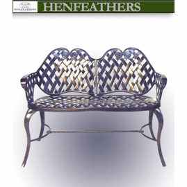 Vintage Lattice Weave Bench