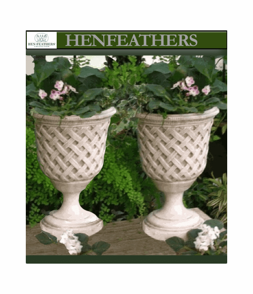 Vintage Lattice Weave Urn Pair {USA}
