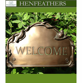 Welcome Sign ,Birds and Vines, a HenFeather`s original   `NEW`