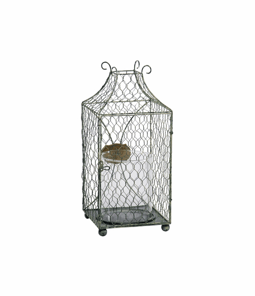Wire Candle Holder with Glass Hurricane