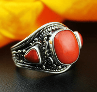 #10.5 Tibetan Old Silver Red Coral Ring