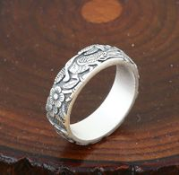 925 Silver Bird Flower Ring