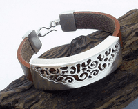 950 Silver Wide Leather Bracelet