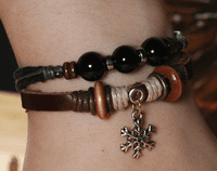 Braided Leather Beads Bracelet