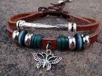 Butterfly Rustic Leather Bracelet
