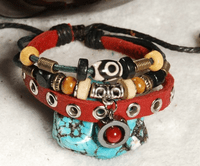 Handmade Leather Beads Bracelet