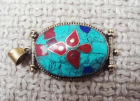 Handmade Pendant - Turquoise and Coral