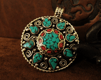 Handmade Pendant - Turquosie and Coral