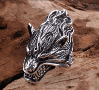 Handmade Silver Wolf Head Ring