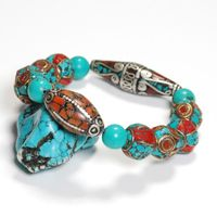 Tibetan Turquoise Coral Beads Bracelet - Sold out
