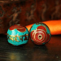 Handmade Turquoise Coral OM Beads