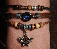 Leather Beads Butterfly Bracelet