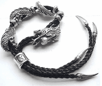 Leather Silver Dragon Bracelet - Sold Out