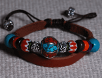 Leather Turquoise Beads Bracelet